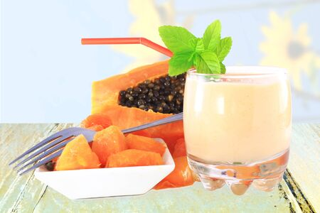 papaya milkshake with cut papaya and mint
