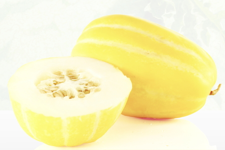 melon fruit: Korean melon fruit  cut and whole Stock Photo