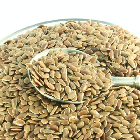 flax seed: flax seed in spoon closeup Stock Photo