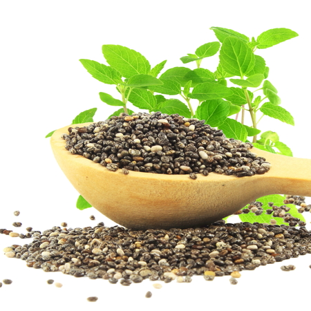 chia seed in wooden spoon with chia plant in pure white background