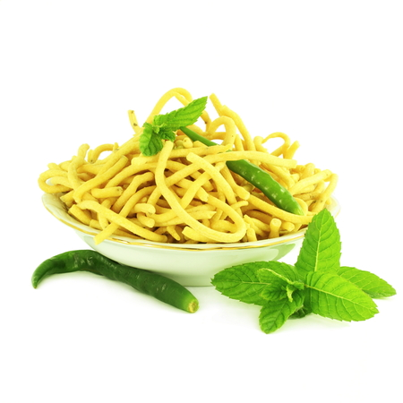 sev: ganthia sev  noodles or vermicelli indian food snack in pure white background