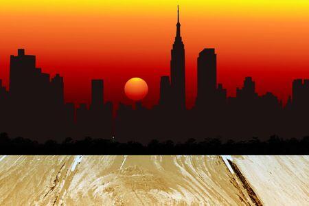 newyork: newyork city evening skyline