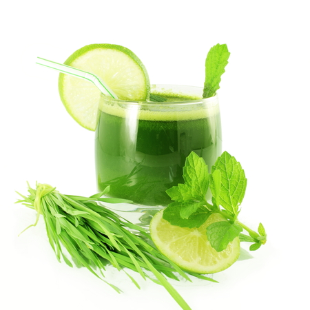 fresh sprouted wheat grass juice with wheat grass in white background Stock Photo