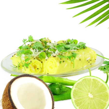 gram: Khandvi Gram Flour Snack traditional Indian food Stock Photo
