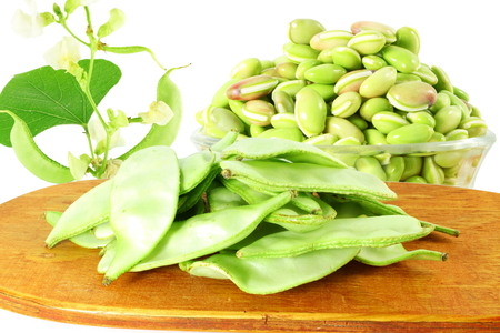 indian bean: Hyacinth bean valor or indian papdi beans on white background