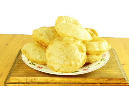 puri or Poori traditional indian homemade deep fried bread or chapati pani puri,gol gappa, Stock Photo