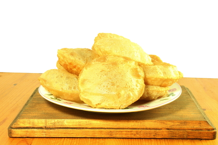 pani: puri or Poori traditional indian homemade deep fried bread or chapati pani puri,gol gappa, Stock Photo