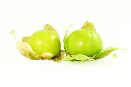 tomatillo or mexican green tomato fruit or vegetable in white background Stock Photo