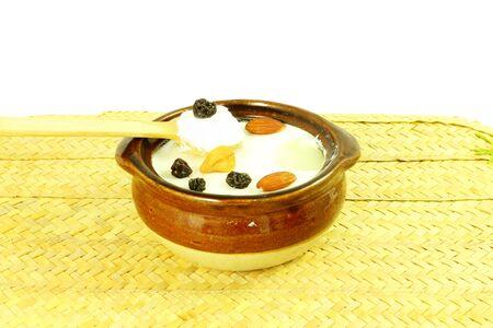 Homemade curd yogurt sour cream or indian dahi in pot