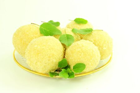 indian sweet: traditional Indian sweets laddu or ladu in white background Stock Photo