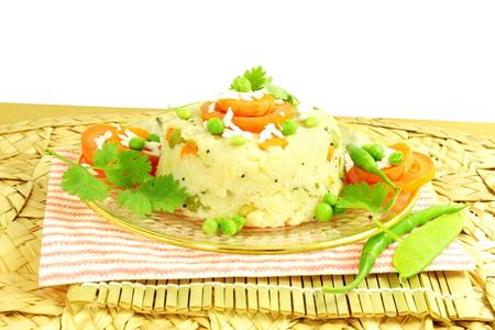 south indian: upma south indian snack Dish made from semolina sooji or rava