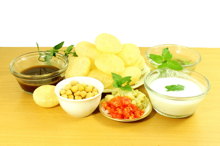 pani: Panipuri or Gol gappa Gujarati Marathi  Indian Food snack Stock Photo