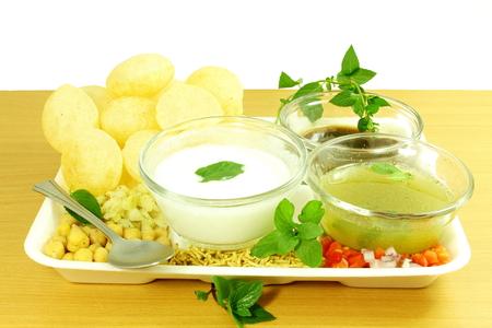 Panipuri or Gol gappa Gujarati Marathi  Indian Food snack Stock Photo