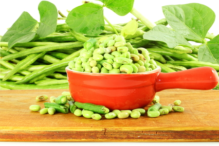 cow pea: fresh green Black eye peas beans with plant in and out of the shell in white background Stock Photo