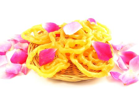 indian sweet: popular Indian sweet  jalebi  dish isolated on white background Stock Photo