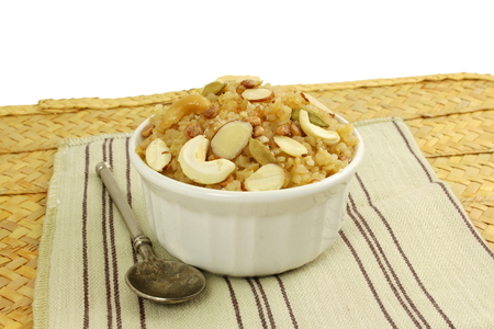 ramzan: ndian gujrati sweet food lapsi broken wheat sweet pudding payasam pongal or daliya sheera