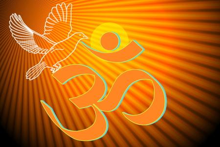 sanskrit: om religious symbols and meditating peace healing related background