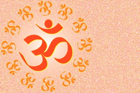 sanskrit: om religious symbols and meditating peace healing related background
