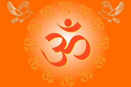 simbolos religiosos: símbolos religiosos om y meditando la curación relacionada fondo paz Foto de archivo