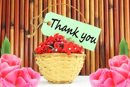 thank you letter tag or label with flower and bamboo basket