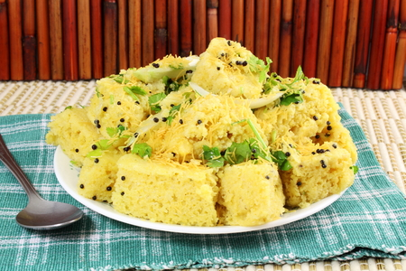 mustered: khaman dhokla indian gujrati snack fast food dish