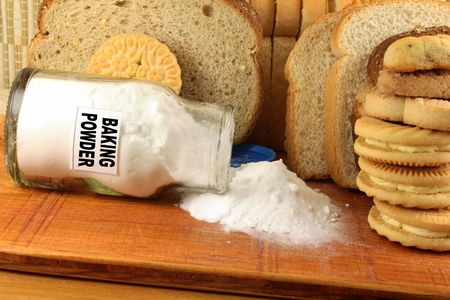 neutralizer: baking powder in a glass jar with cookie and bread
