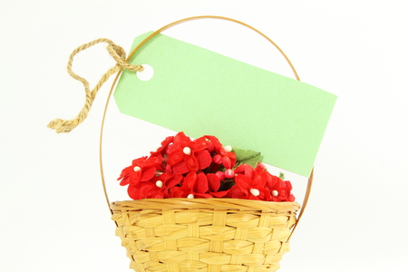 flower basket: blank tag or label with space for text on bamboo flower basket