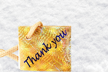 thank you letter tag or label  in snow background