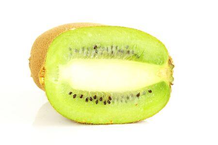 Kiwi fruit with slice isolated on white background