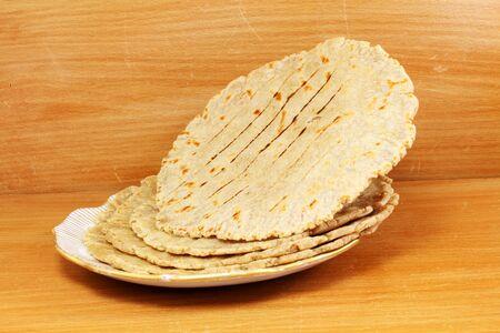 paratha: traditional indian home made roti chapati paratha indian flat bread or indian tortilla nan Stock Photo