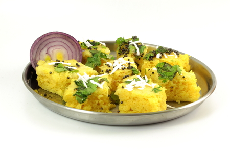 sev: khaman dhokla traditional gujrati indian snack food dish Stock Photo