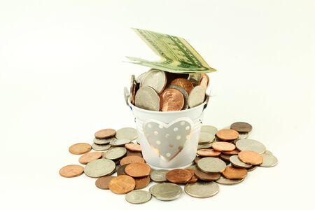 bucket of money: i love money or money in bucket for loving and Saving money on white background