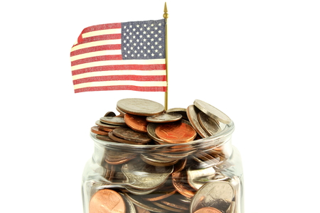 us coin: us or American flag waving with money or coin