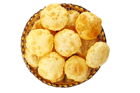 pani: puri or Poori traditional indian homemade deep fried bread or chapati Stock Photo