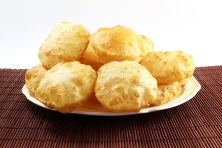 puri or Poori traditional indian homemade deep fried bread or chapati Stock Photo
