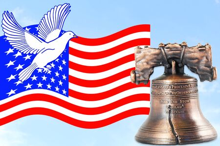 liberty bell: us or American flag waving in blue sky with idol liberty bell and dove Stock Photo