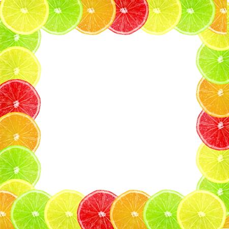 multi color: Multi color different citrus slices as frame background