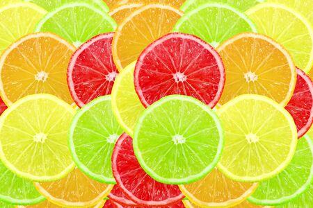 multi color: Multi color different citrus slices as background