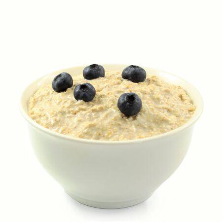 oatmeal: oatmeal porridge in bowl in white background