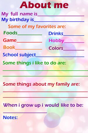 About Me myself phrase Concept text in colored background