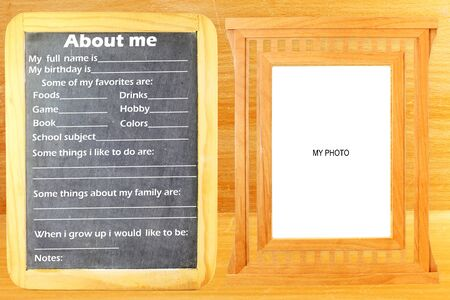 About Me myself phrase Concept text in blackboard with frame room for photo or text