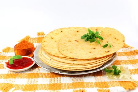 indian gujrati snack khakhra or crispy roti or crispy chapati bread 写真素材