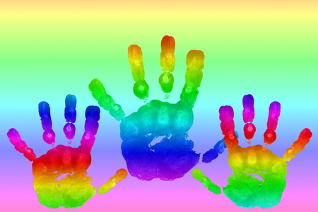 kids art and craft colorful hand prints in rainbow