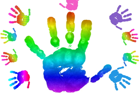 hand print: kids art and craft colorful hand prints in rainbow Isolated on white background