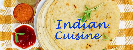 indian cuisine: indian food and indian cuisine related background with text indian cuisine Stock Photo