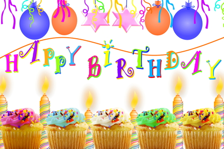 party poppers: Birthday greeting card with cupcake balloon strip and candles