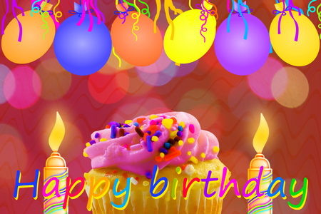 Birthday greeting card with cupcake balloon strip and candles