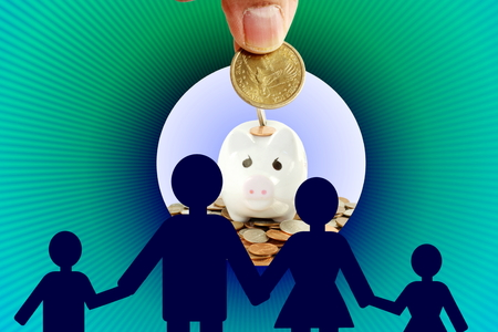 son deposit: together family man woman boy girl  Saving and growing money concept idea Stock Photo