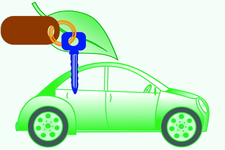 car keys and car with go green concept Stock Photo