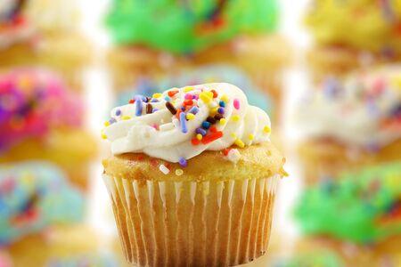 Cupcakes desert on a blure unfocus cake background